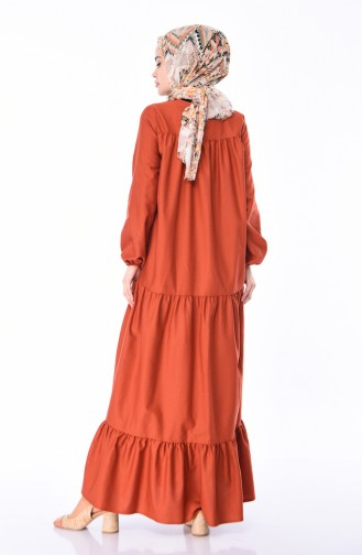 Ruched Dress 7268-01 Brick Red 7268-01