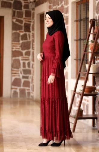 Dantelli Kemerli Elbise 3152-06 Bordo