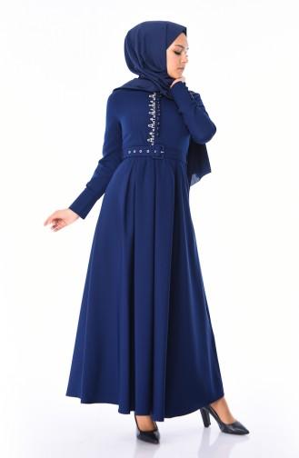 Navy Blue İslamitische Jurk 9326-05