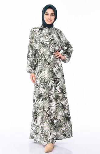 Robe a Motifs Taille Froncée 1046D-03 Khaki 1046D-03