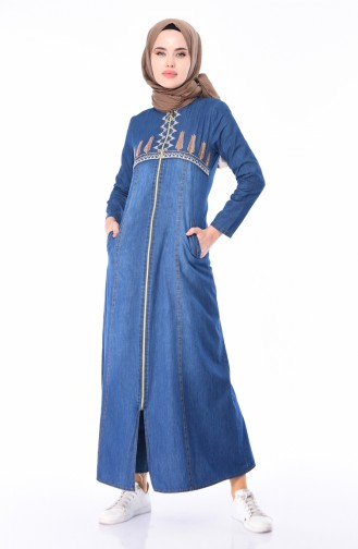 Abaya Jean Brodée 5182-01 Bleu Marine 5182-01