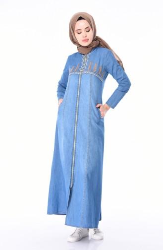 Abaya Jean Brodée 5182-02 Bleu Jean 5182-02
