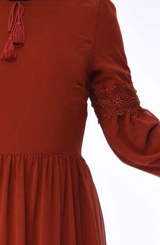Dantel Detaylı Şifon Elbise 5472-10 Kiremit