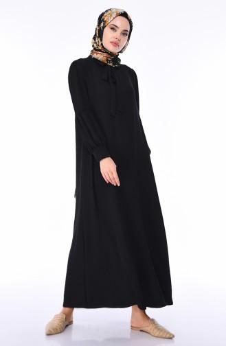 Aerobin Kumaş Yazlık Elbise 1058-02 Siyah