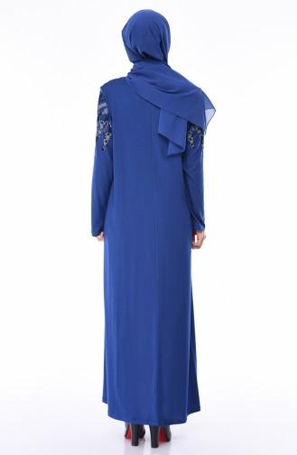 Büyük Beden Baskılı Elbise 4496-07 İndigo