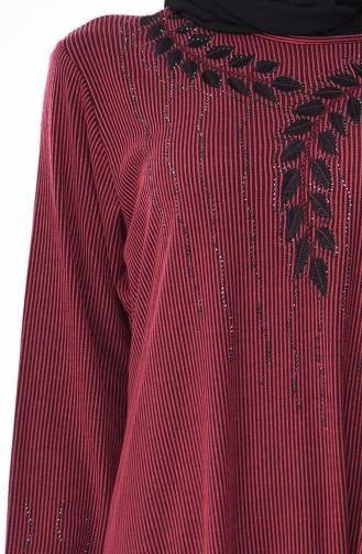 Robe Brodée Grande Taille 4566-01 Fushia Foncé 4566-01