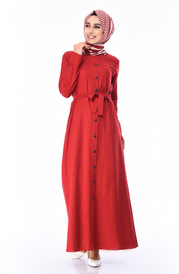 5269ea26d4920 Boydan Düğmeli Yazlık Elbise 6010-02 Bordo