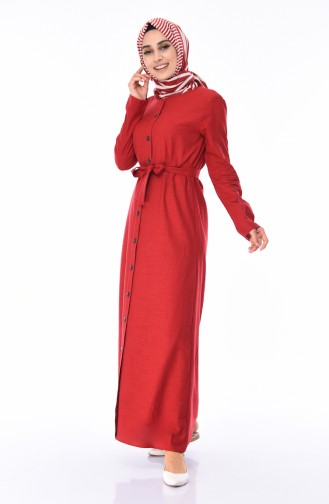 Boydan Düğmeli Yazlık Elbise 6010-02 Bordo