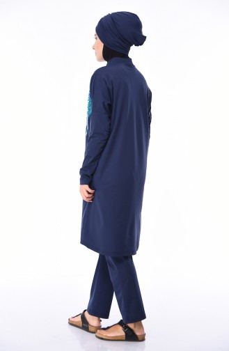 Frauen Hijab Bademode   404-01 Dunkelblau Blau 404-01