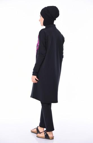 Frauen Hijab Bademode  404-02 Schwarz Pink 404-02