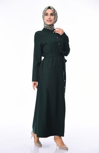 Abaya a Boutons et Ceinture Grande Taille 0632-06 Vert 0632-06