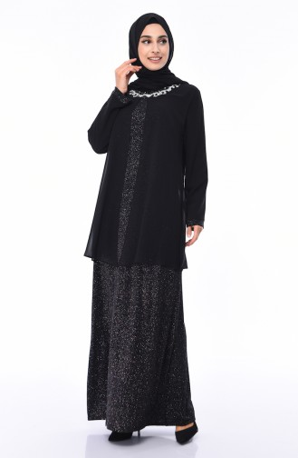 Black Islamic Clothing Evening Dress 1011-01