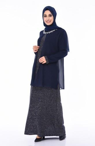 Navy Blue İslamitische Avondjurk 1011-03