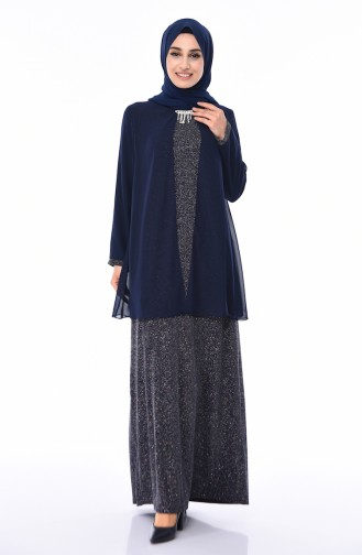 Navy Blue Islamic Clothing Evening Dress 1052A-01