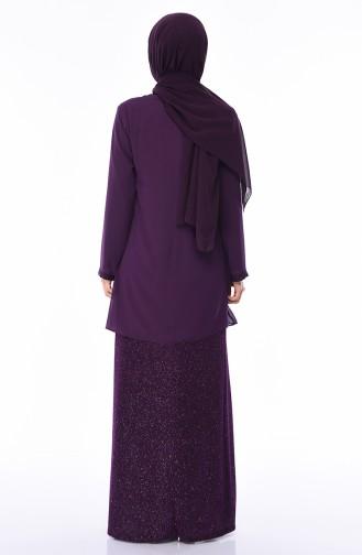 Robe de Soirée a Paillettes Grande Taille 1052A-03 Pourpre 1052A-03