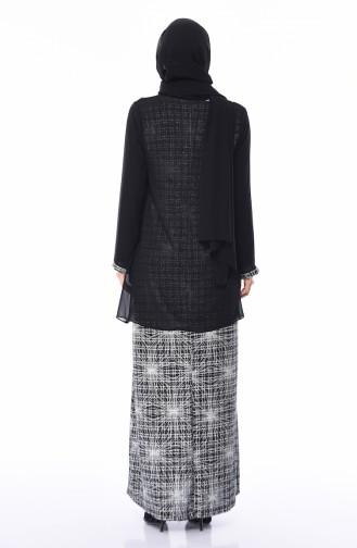 Büyük Beden Simli Abiye Elbise 1052B-01 Siyah