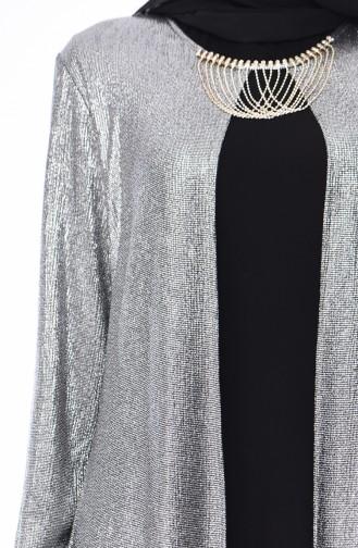 Robe de Soirée Grande Taille 1060-06 Argent Noir 1060-06