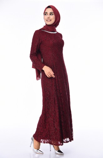 Claret red Islamic Clothing Evening Dress 2054-06