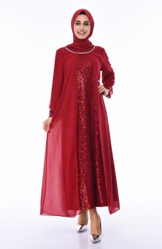 Weinrot Hijab-Abendkleider 2829-01