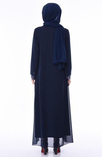 Habillé Hijab Bleu Marine 4747-01