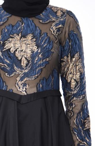 Robe de Soirée Jacquard 4425-01 Bleu marine Noir 4425-01