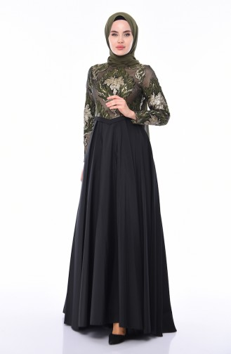 Robe de Soirée Jacquard 4425-02 Khaki Noir 4425-02