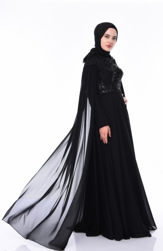 Robe de Soirée Brodée de Perles 4574-01 Noir 4574-01