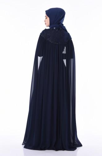 Robe de Soirée Brodée de Perles 4574-02 Bleu Marine 4574-02