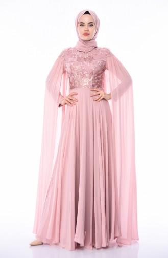 Robe de Soirée Brodée de Perles 4574-03 Poudre 4574-03