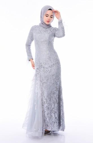 Gray Islamic Clothing Evening Dress 4702-02