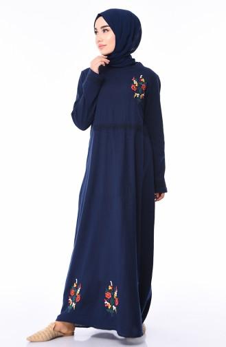 Nakışlı Şile Bezi Elbise 5010-02 Lacivert
