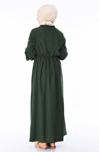 Kolu Lastikli Şile Bezi Elbise 5020-02 Zümrüt Yeşil