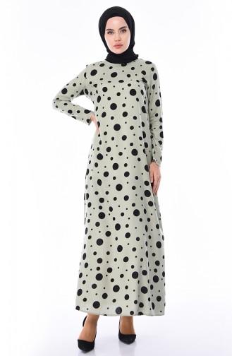 Green Almond Hijab Dress 6382-05