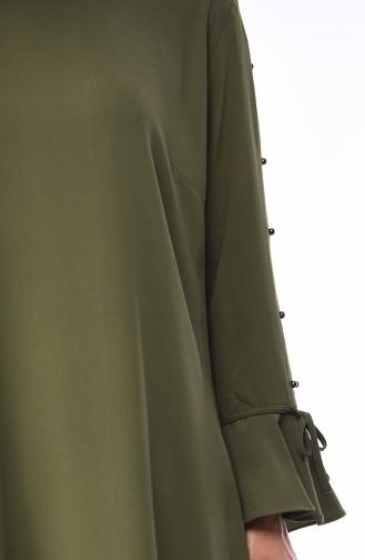 Tunique Détail Manches Grande Taille 1659A-01 Khaki 1659A-01