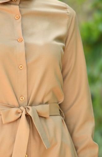 Minahill Buttoned Belted Tunic 8206-02 Mustard 8206-02