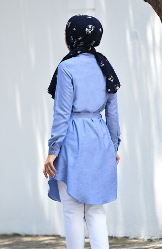 Minahill Buttoned Belted Tunic 8206-03 Dark Blue 8206-03