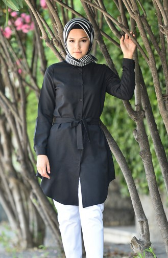 Minahill Buttoned Belted Tunic 8206-06 Black 8206-06