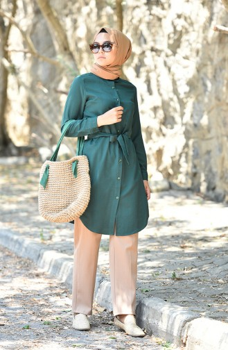 Minahill Buttoned Belted Tunic 8206-07 Emerald Green 8206-07