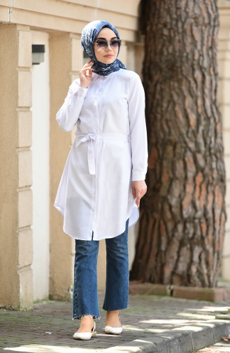 Minahill Buttoned Belted Tunic 8206-08 White 8206-08