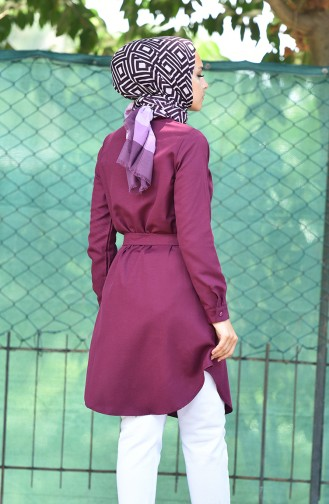 Minahill Buttoned Belted Tunic 8206-09 Damson 8206-09