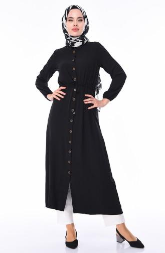 Boydan Düğmeli Uzun Tunik 5282-06 Siyah