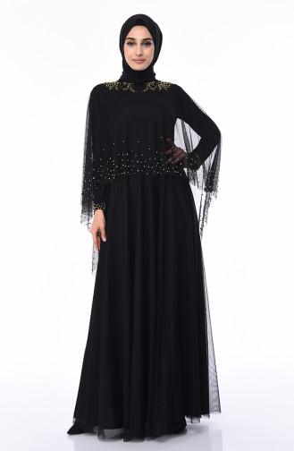 Robe de Soirée Perlées 4570-04 Noir 4570-04