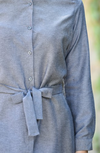 Minahill Buttoned Belted Tunic 8206-05 Gray Black 8206-05