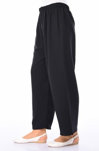 Lastikli Bol Paça Pantolon 5007-01 Siyah