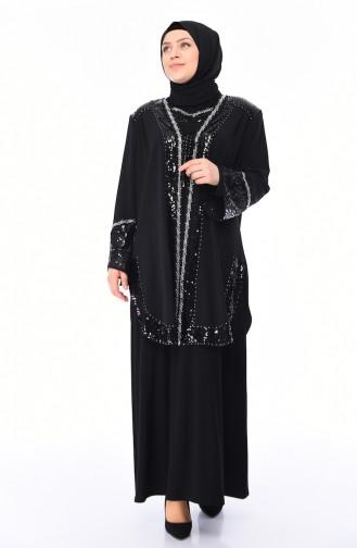 Büyük Beden Payetli Abiye Takım 1001-01 Siyah 1001-01