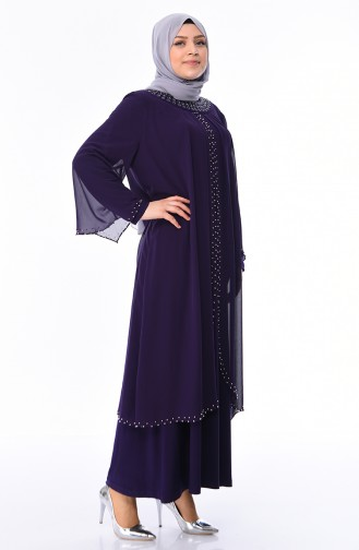 فساتين سهرة بتصميم اسلامي أرجواني 3142-01