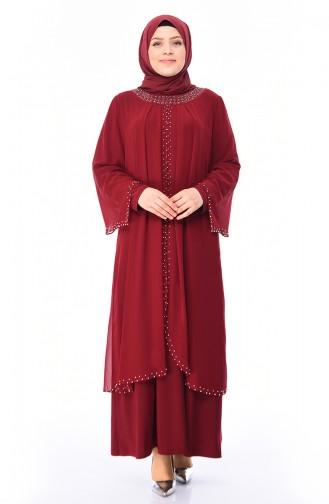 Büyük Beden İncili Abiye Elbise 3142-02 Bordo