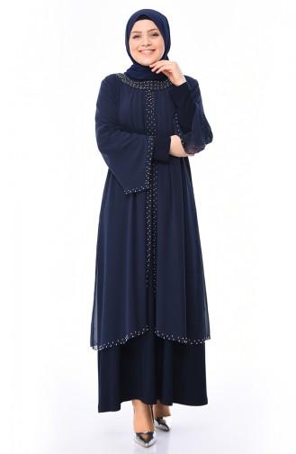 Navy Blue Islamic Clothing Evening Dress 3142-03