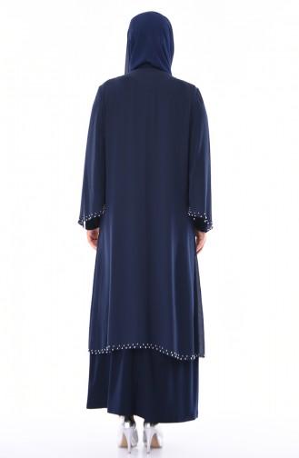 Robe de Soirée Perlées Grande Taille 3142-03 Bleu Marine 3142-03