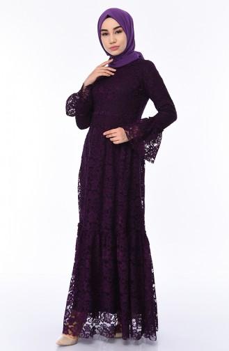 Purple Islamic Clothing Evening Dress 8177-01